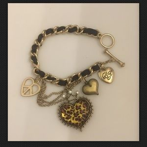 Betsey Johnson Lepord Heart Gold Tone Bracelet
